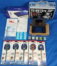 Nintendo DS Lite Blue Console in Box w/ Games Aluminum Travel Case Styluses Lot