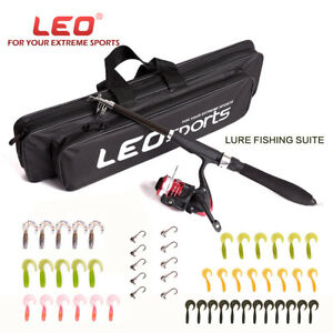 Telescopic Fishing Spinning Rod Reel Combos Kit 42 Lures 10 Hook Storage Bag Set