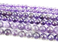 "Natural Round smooth Amethyst Jewelry Making loose gemstone beads strand 15"" AAA"