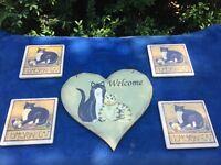 PRIMITIVE Welcome Kitty Kitten Plaque Sign ++ 4 Black Cat Homespun COASTERS Set