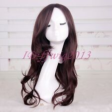 FAIRY TAIL Cana Alberona Long Curly Brown Anime Cosplay Hair Wig +a wig cap