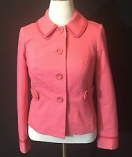 Women's Boden Pink Button Up Jacket Polka Dot Liner Size 10
