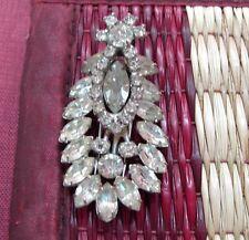 Vintage Kramer of New York ladies fur dress clip brooch pin clear Rhinestones RS