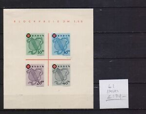 ! Germany Baden  1949.  Block Stamp. YT#B1. €170.00!