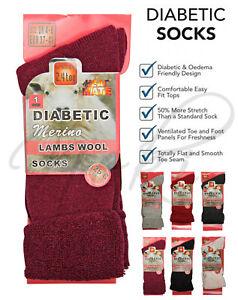 Ladies Women Diabetic Socks Merino Wool Red Non Elastic Wider Top UK Size 4-8