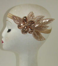 Rose Gold Nude Beaded Headband Headpiece Vintage 1920s Great Gatsby Flapper S64