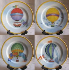 Set of 4 Salad Plates Williams Sonoma Montgolfiere Pattern 4 Balloon Designs