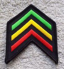 RASTA SERGEANT STYLE STRIPES PATCH Cloth Badge Biker Jacket Rastafarian Flag