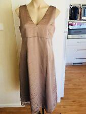 Ladies Light Brown Bridesmaid Formal  Dress Size Medium 12-14 Sleeveless Fitted