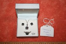Sterling Silver Mystic Topaz Earrings Necklace & Ring Size 7 New in Macy Box