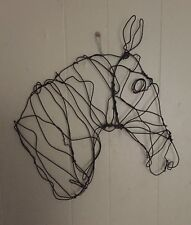 "New Horse Head Wire Sculpture Wall Hanging 17"" x 16"" x 4"""