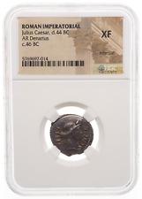 ROMAN IMPERATORIAL. Julius Caesar. 46 BC. AR Denarius, NGC XF