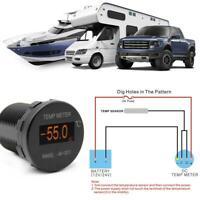 -40~125℃ Mini OLED Digital 12/24V Thermometer Waterproof Temperature Gauge Meter