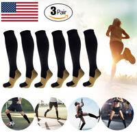 3 Pairs Copper Infused Compression Socks 20-30mmHg Graduated Mens Womens S-XXL