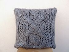 """UGG GREY OVER SIZED BAILEY BUTTON FEATHER WOOL KNIT PILLOW  24"""" ~RETAIL $ 175"""