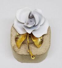 Vintage Estate Cerrito White Metal Enamel Rose Flower Brooch Pin ~ 2 1/8