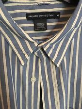 New French Connection Long Sleeve Striped Dress Shirt MENS XL Blue White Cotton