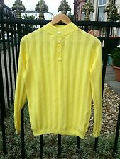 Vintage 60s Maidment Knitted Skinny Ribbed Mod Turtle Button Neck Jumper.Medium.