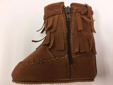 Baby Suede Fringe Boots Infant Toddler With Zipper SZ-1, Cognac Color Q-6042 New