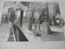 Gravure 1896 L'industrie du Verre les deux modes de soufflage