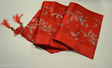 "New Red Chinese Silk Brocade Table Runner Dragon & Phoenix Gift Home Decor 90""L"