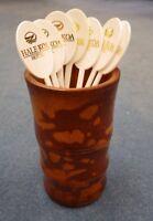 Cool Vintage 1960 era Bamboo Cup HawaiianTiki Bar Stir Stick Holder Hawaii Surf