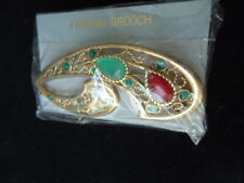 Golden Paisley Green & Red Rhinestone Pin Brooch Size: 3""
