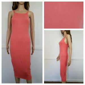 ❤️BNWT STYLE peach pink viscose jersey everyday solid bodycon dress size S 1122