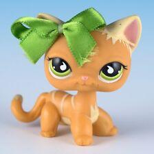 Littlest Pet Shop Cat Shorthair #525 Orange With Green Eyes Pale Yellow Stripes