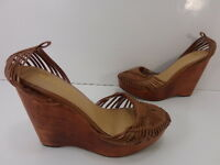 "Women's Report ""Dashiell"" Leather Wedge Sandals Brown Sz 6M MISSING ANKLE STRAP"