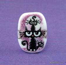 """CRAZY FOR KITTENS"" a handmade lampwork glass CAT pendant focal bead byKayo SRA"