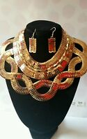 Statement big gold colour chunky collar necklace and earring set