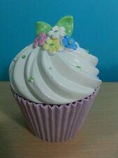 Unique Handpainted Flower Petal Ceramic Cupcake Keepsake Trinket Holder Box