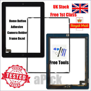 For iPad 2 A1395 A1396 A1397 Screen Black Digitizer Touch Replacement Button IC