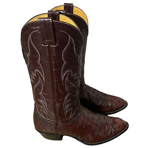 Nocona Full Quill Ostrich Boots Leather Size 9 D Almond Western Women's Brown