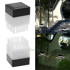 Outdoor Solar Powered Fence Post Pool LED Square Light Garden Pathway Lamp White