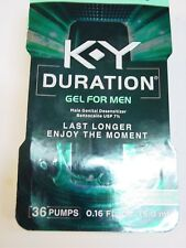 K-Y KY Duration Gel for Men - 36 pumps, 0.16 oz/5.0 ml. Exp 01/2020