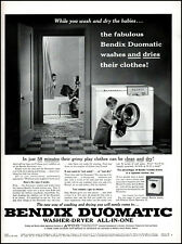 1956 Kids Bathing Laundry Bendix Duo Washer Dryer vintage photo print ad adl86