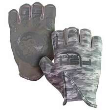 Fish Monkey Stubby Guide Fishing Gloves Grey Water Camo-L FM18-GREYWTRCAM-L