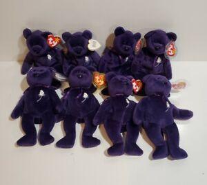 Lot of 8 PRINCESS DIANA BEARS Ty Beanie Babies 1997
