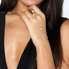 Gold Crystal Women Bracelet Bangle Slave Chain Link Finger Ring Hand Harness