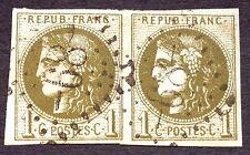timbre france, n°39c, 1c ovlive foncé bordeaux, TB, Obl, cote 560e signe Brun