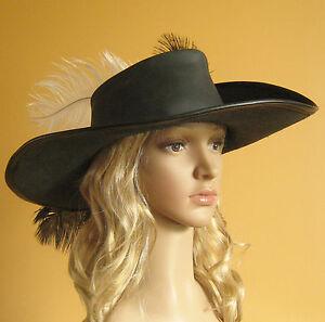 Medieval Celtic Renaissance Ren Faires Pirate Leather Hat Musketeer Hat