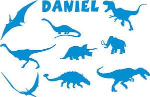 Personalizado Dinosaurio decoración pared 3 tamaños Dormitorio de niños