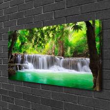 Photo sur toile Image Tableau Impression 100x50 Nature Cascade Lac Forêt