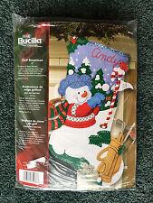 "Sealed Bucilla 18"" Christmas Felt Stocking Kit GOLF SNOWMAN Craft Plaid 2007"