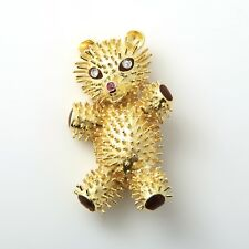 Teddy Bear Brooch Large, 18K Gold, Diamonds/Rubies Mid Century