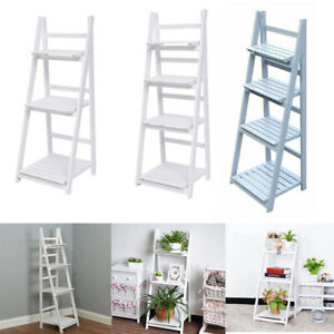 Wooden Folding Flowers Stand Ladder Book Shelf Display Racks Garden Storage Unit