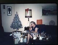 1960s amateur Kodachrome  Photo slide Lady in Living room  Christmas