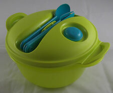 Tupperware Crystal wave to Go micro-ondes vaisselle couverts 1,5l rond vert clair NEUF